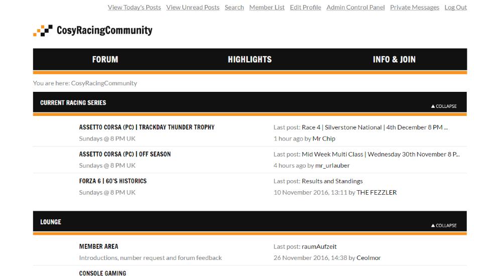 Portfolio Sven Uilhoorn: Website & Forum Cosy Racing Community